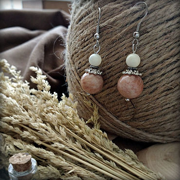 Decorations handmade. Livemaster - original item Earrings with natural sun stone and mother of pearl, hypoallergenic.. Handmade.