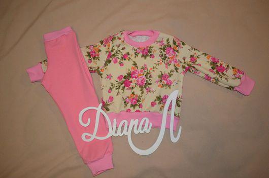 Одежда для девочек, ручной работы. Ярмарка Мастеров - ручная работа. Купить Цветы розовые. Handmade. Свитшот детский, костюм для девочки