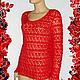 """Кофты и свитера ручной работы. Ярмарка Мастеров - ручная работа. Купить Вязаный ажурный свитер  """"Красная роза-прекрасная"""". Handmade."""