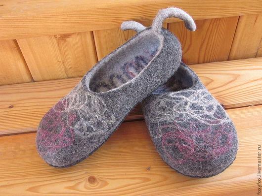 """Обувь ручной работы. Ярмарка Мастеров - ручная работа. Купить Тапочки """"Городское этно""""-2. Handmade. Темно-серый"""
