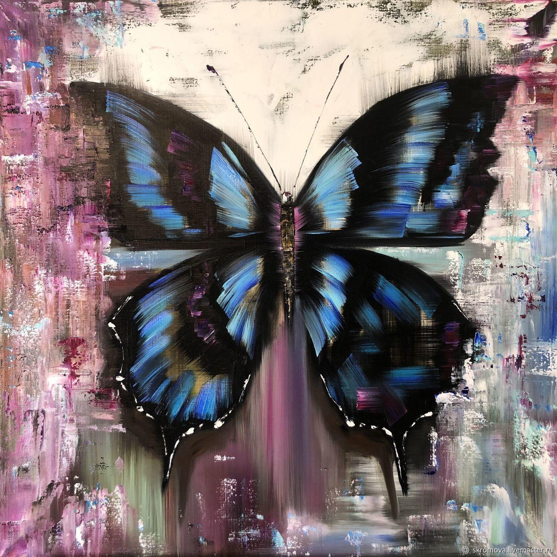 Картина маслом Бабочка-абстракция. Черно-голубая бабочка, Картины, Москва,  Фото №1