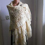 Аксессуары handmade. Livemaster - original item Voluminous shawl white color ecru winter 2021 gift for February 14 favorite. Handmade.