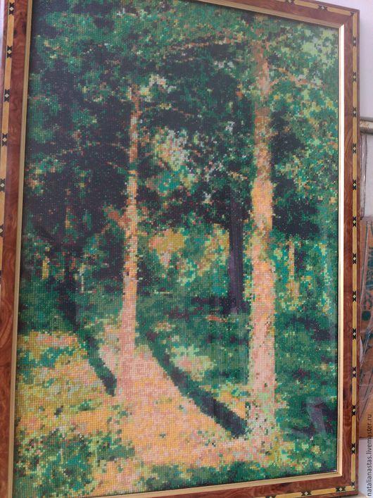 """Пейзаж ручной работы. Ярмарка Мастеров - ручная работа. Купить Картина, вышитая крестом, """"Сосны, освещенные солнцем"""". Handmade. солнце"""