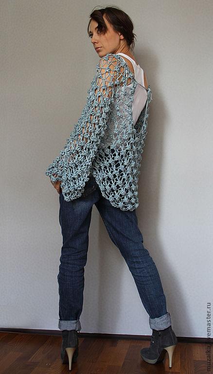 Кофты и свитера ручной работы. Ярмарка Мастеров - ручная работа. Купить Ажурная кофточка под джинсы и не только...). Handmade. Голубой