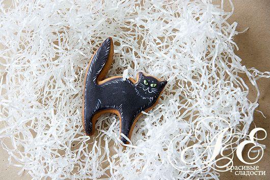 """Подарки на Хэллоуин ручной работы. Ярмарка Мастеров - ручная работа. Купить Пряник """"Чёрный кот"""". Handmade. Кот, черная кошка"""