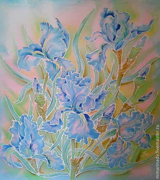 Картина `Бирюза в серебре`;в технике-холодный батик. размер 60-60 см., натуральный шёлк. Авторский батик Марины Маховской.