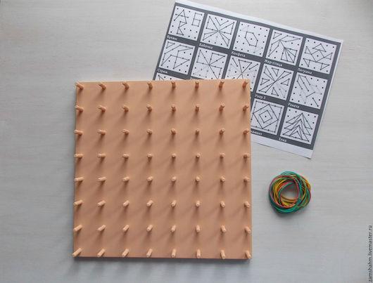 Развивающие игрушки ручной работы. Ярмарка Мастеров - ручная работа. Купить Геоборд-математический планшет.. Handmade. Бежевый, бизиборд, математика