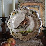 Винтаж handmade. Livemaster - original item Decorative plate with woodcock, Italy. Handmade.