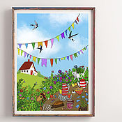 handmade. Livemaster - original item Painting a poster of summer landscape Painting for the interior with colors. Handmade.