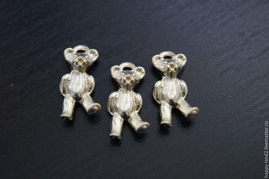 Для украшений ручной работы. Ярмарка Мастеров - ручная работа. Купить Подвеска мишка 3D, 2 покрытия. Handmade. Колечки