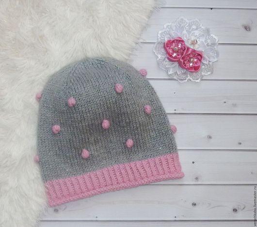 нежная шапочка, шапочка, купить шапку, весенняя шапочка, шапочка спицами, вязаная теплая шапочка, красивая шапочка, осенняя шапочка для девочки, купить шапочку, серый