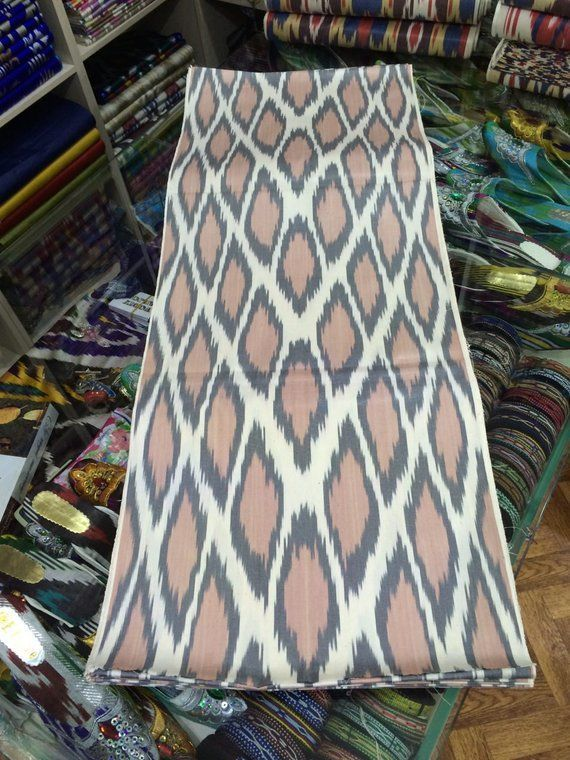 Uzbek cotton ikat hand weaving. FM121, Fabric, Odintsovo,  Фото №1