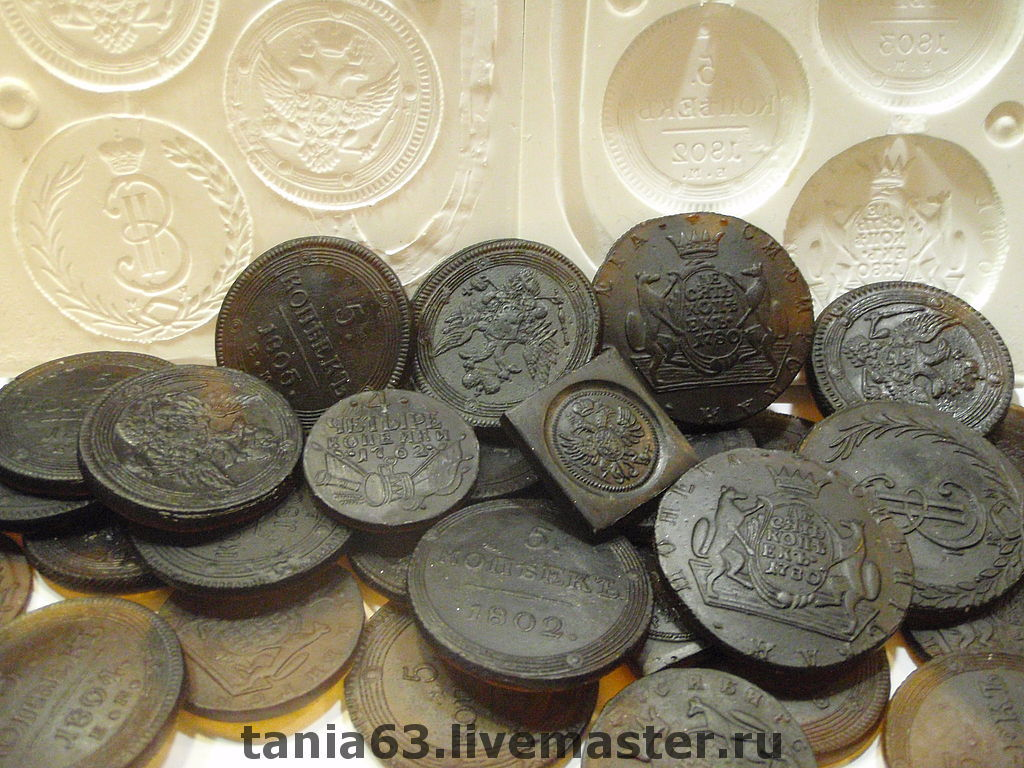 Shape soap 3D 'Coins of the Russian Empire', Soap, Shigony,  Фото №1