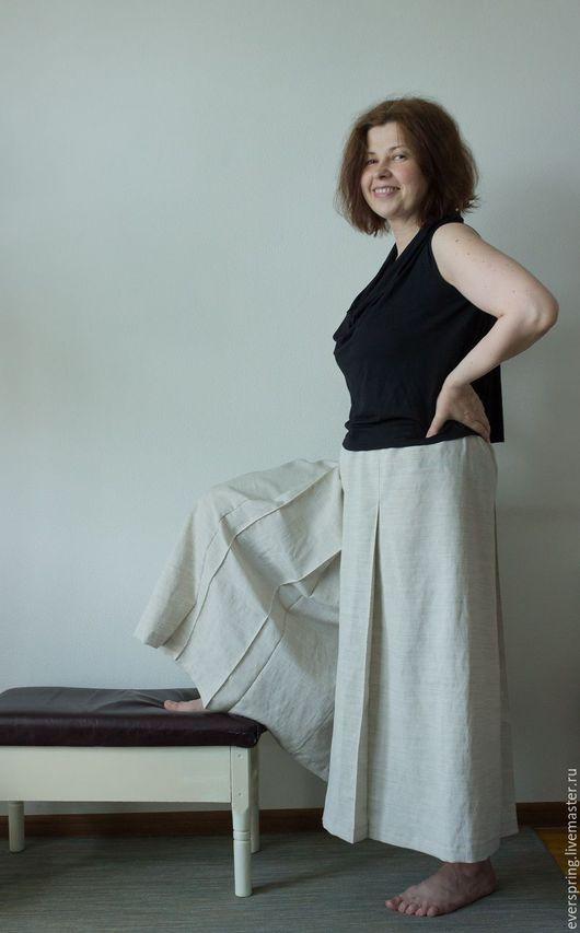 Юбка брюки, широкие брюки, кюлоты, брюки со складками, большой размер, брюки большого размера, брюки из льна, светлые брюки.