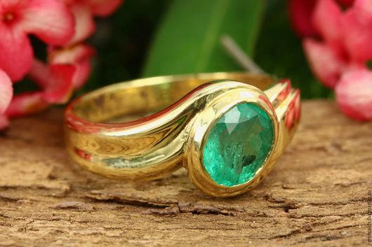Кольца ручной работы. Ярмарка Мастеров - ручная работа. Купить Талисман!! кольцо изумруд в желтом золоте 14 К. Handmade.