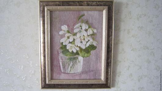 Картины цветов ручной работы. Ярмарка Мастеров - ручная работа. Купить картина вышитая гладью Подснежники в стакане. Handmade. Вышивка