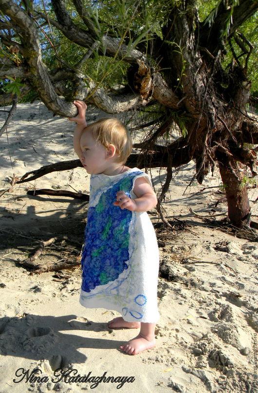 Одежда для девочек, ручной работы. Ярмарка Мастеров - ручная работа. Купить Валяное платье для девочки Кусочек моря. Handmade.