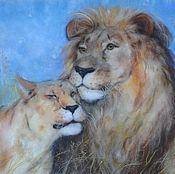 """Картины и панно ручной работы. Ярмарка Мастеров - ручная работа """"Пара львов"""". Handmade."""