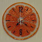 Для дома и интерьера handmade. Livemaster - original item clock of fusing glass Orange. Handmade.