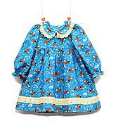 Работы для детей, handmade. Livemaster - original item Turquoise dress for girl with bees from American cotton. Handmade.