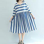 Одежда ручной работы. Ярмарка Мастеров - ручная работа платье из хлопка в полоску - тренд сезона. Handmade.