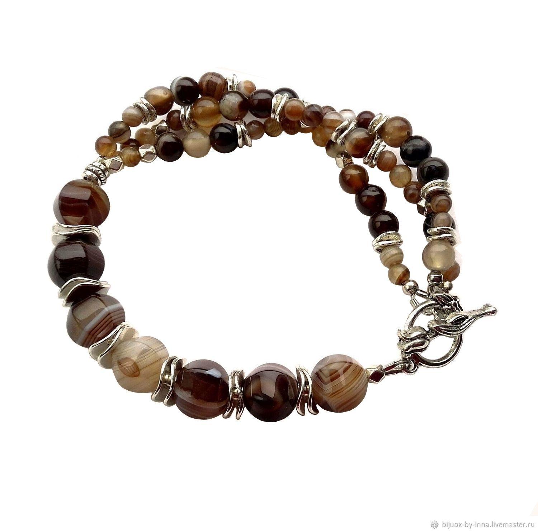 Bracelets Handmade Livemaster Stone Beaded Bracelet Agate