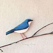 Украшения ручной работы. Ярмарка Мастеров - ручная работа Синий соловей. Брошь птица. Handmade.