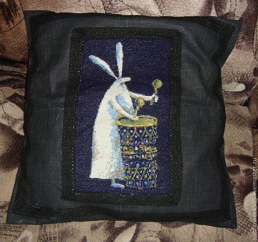"""Текстиль, ковры ручной работы. Ярмарка Мастеров - ручная работа. Купить декоративная наволочка для подушки """"Заяц-Мутант"""". Handmade. Черный"""
