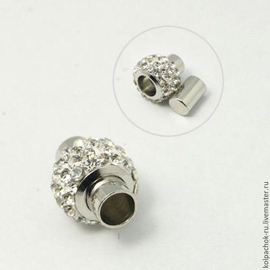 Для украшений ручной работы. Ярмарка Мастеров - ручная работа. Купить Комплект колпачков магнитный со стразми, 4 мм внутренний диаметр. Handmade.