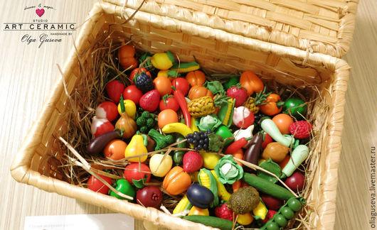 Еда ручной работы. Ярмарка Мастеров - ручная работа. Купить Набор - Миниатюрные овощи, фрукты, ягоды. Handmade. Разноцветный, ягоды