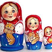 Народная кукла ручной работы. Ярмарка Мастеров - ручная работа Матрёшка Настя с котёнком 3м 11см. Handmade.