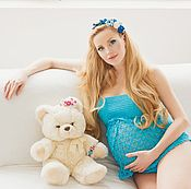 Одежда handmade. Livemaster - original item Top bandeau knit blue Sale!. Handmade.