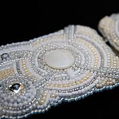 Аксессуары handmade. Livemaster - original item White elastic beaded belt  Swarovski crystals and pearls embroidery. Handmade.