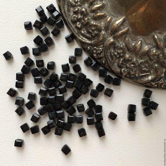 """Для украшений ручной работы. Ярмарка Мастеров - ручная работа. Купить Кубик 2х2мм """"Черный"""". Handmade."""
