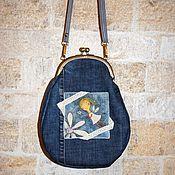 Сумки и аксессуары ручной работы. Ярмарка Мастеров - ручная работа Джинсовая сумочка с фермуаром. Handmade.