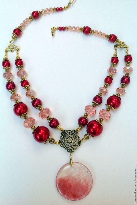 Комплект украшений из жемчуга и хрусталя в восточном стиле Зари румянец томный. Оригинальный,роскошный подарок для стильных, неординарных женщин и девушек.