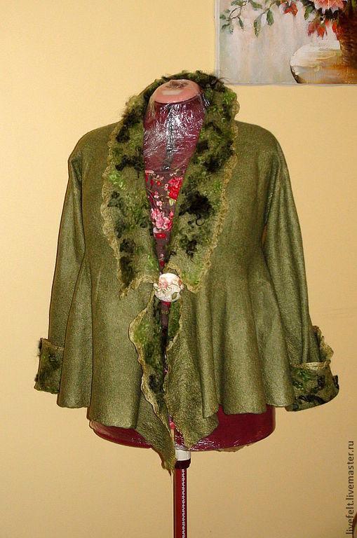 """Пиджаки, жакеты ручной работы. Ярмарка Мастеров - ручная работа. Купить Валяный пиджак """"ДЕВОРЕ"""" оливковый зелёный. Handmade. Жакет"""