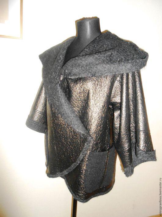 Верхняя одежда ручной работы. Ярмарка Мастеров - ручная работа. Купить Куртка с капюшоном кожа и шерсть. Handmade. Коричневый