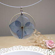 Украшения handmade. Livemaster - original item Transparent Pendant Blue Hydrangeas Real Flowers Resin. Handmade.