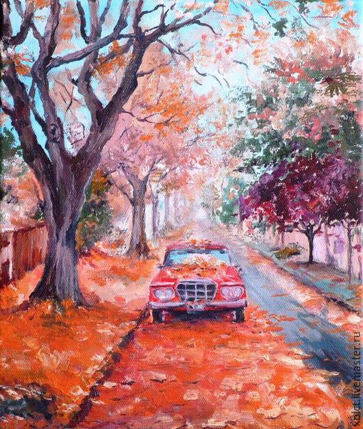 Пейзаж ручной работы. Ярмарка Мастеров - ручная работа. Купить Осенняя. Handmade. Разноцветный, картина на холсте, подарок на день рождения