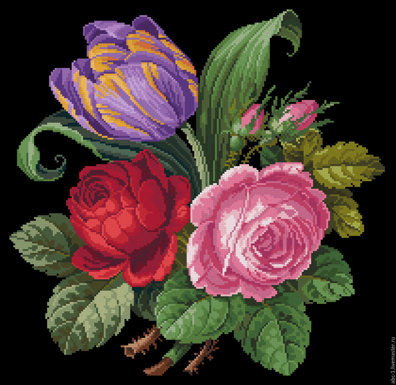 Роза на черном фоне вышивка крестом
