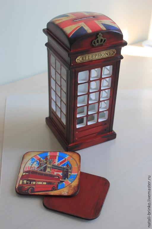 Персональные подарки ручной работы. Ярмарка Мастеров - ручная работа. Купить Копилка деревянная Телефонная будка Лондон. Handmade. Бордовый