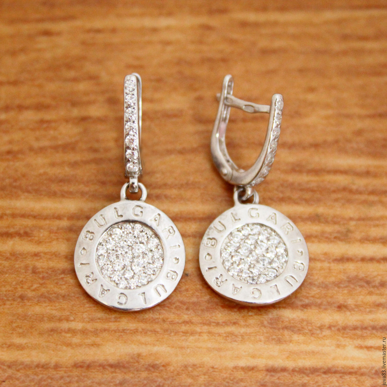 47158bf3b0ca Серебряные серьги Bulgari, реплика, серебро 925