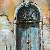 Картины и панно handmade. Livemaster - original item Pastel painting Venetian door(turquoise orange grey). Handmade.