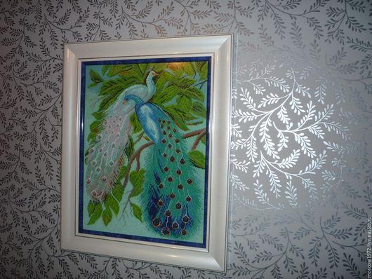 Картина Павлины ручной работы. Ярмарка Мастеров - ручная работа. Картина вышивка крестом . Handmade.