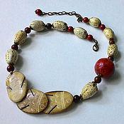 Украшения handmade. Livemaster - original item Beads of bone, coral and Jasper. Handmade.