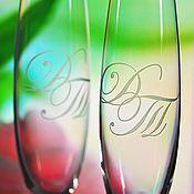 Бокалы ручной работы. Ярмарка Мастеров - ручная работа Свадебные бокалы с вашими инициалами. Handmade.