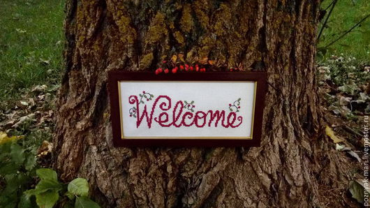 """Интерьерные слова ручной работы. Ярмарка Мастеров - ручная работа. Купить Панно """"Welcome"""". Handmade. Разноцветный, вышивка, welcome"""