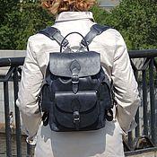 Рюкзаки ручной работы. Ярмарка Мастеров - ручная работа Женский рюкзак кожаный синий Сельма Мод Р52-661. Handmade.