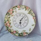 Для дома и интерьера ручной работы. Ярмарка Мастеров - ручная работа Часы Розы на белом.... Handmade.
